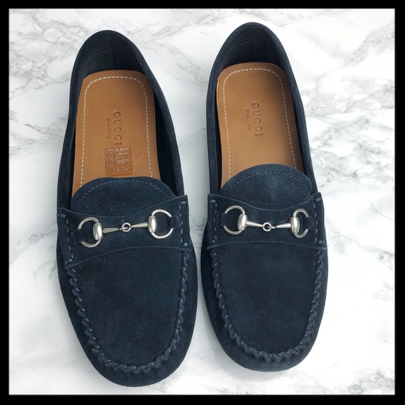 ad7e83ea18d gucci    blue suede horsebit road loafers mocs NEW